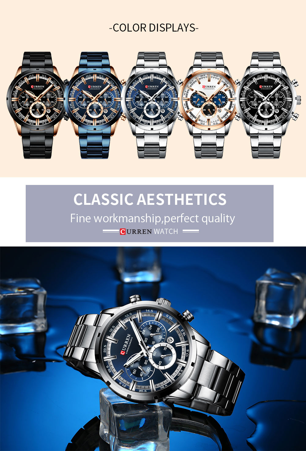 He09530c71a9744528adfb31d07c317f0z CURREN Top Brand Military Quartz Watches Silver Clock Mens Quartz Stainless Steel Chronograph Watch for Men Casual Sporty Watch