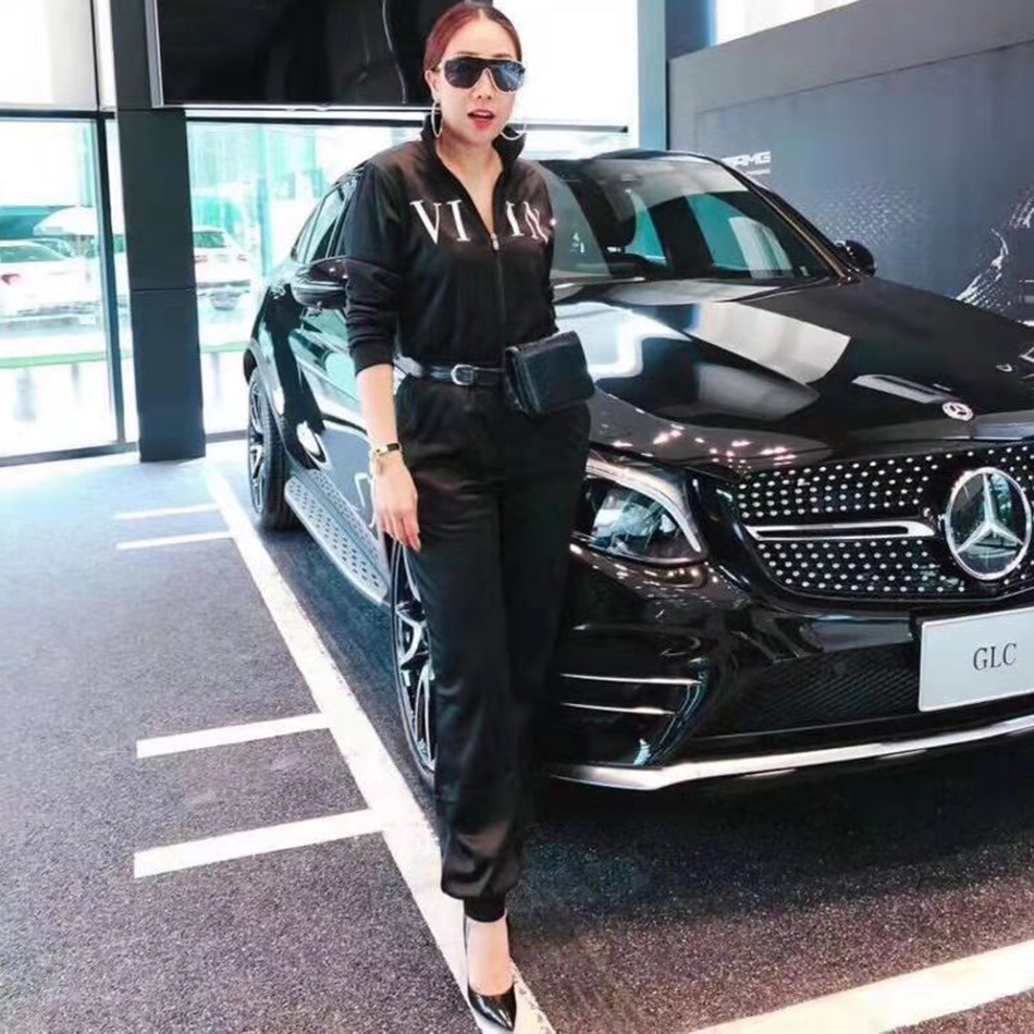 2019 New Christmas Women'S Casual Long-Sleeved Solid Color Zipper Jumpsuit Sexy Black Slim Full Length Party Jumpsuit