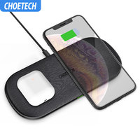CHOETECH 5 Coils 10W Qi Dual Wireless Charger Fast Charging Pad Compatible for iPhone X XS Max for Samsung S8 S9 S10 New AirPods
