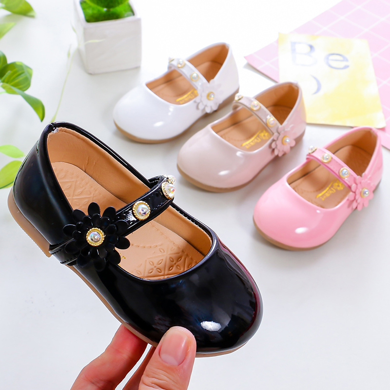 Girls Shoes Kids Princess Shoes Children Casual Flats Mary Janes Pearl Beading Band With Sweet Flowers Soft Cute 21-30 Shoes New