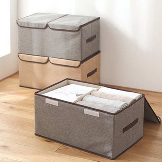 WSFS Hot 4 Pack Larger Storage Cubes Fabric Foldable Collapsible Storage Square Bin Organizer Basket with Lid Handles Removable 1