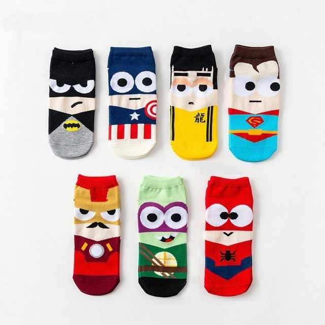 2019 Super Hero 1 Paar Cartoon Kinderen Tieners Korte Sokken Jongens Kids Mannen Amerika Captain Volwassen Boot Sok Spiderman Cartoon