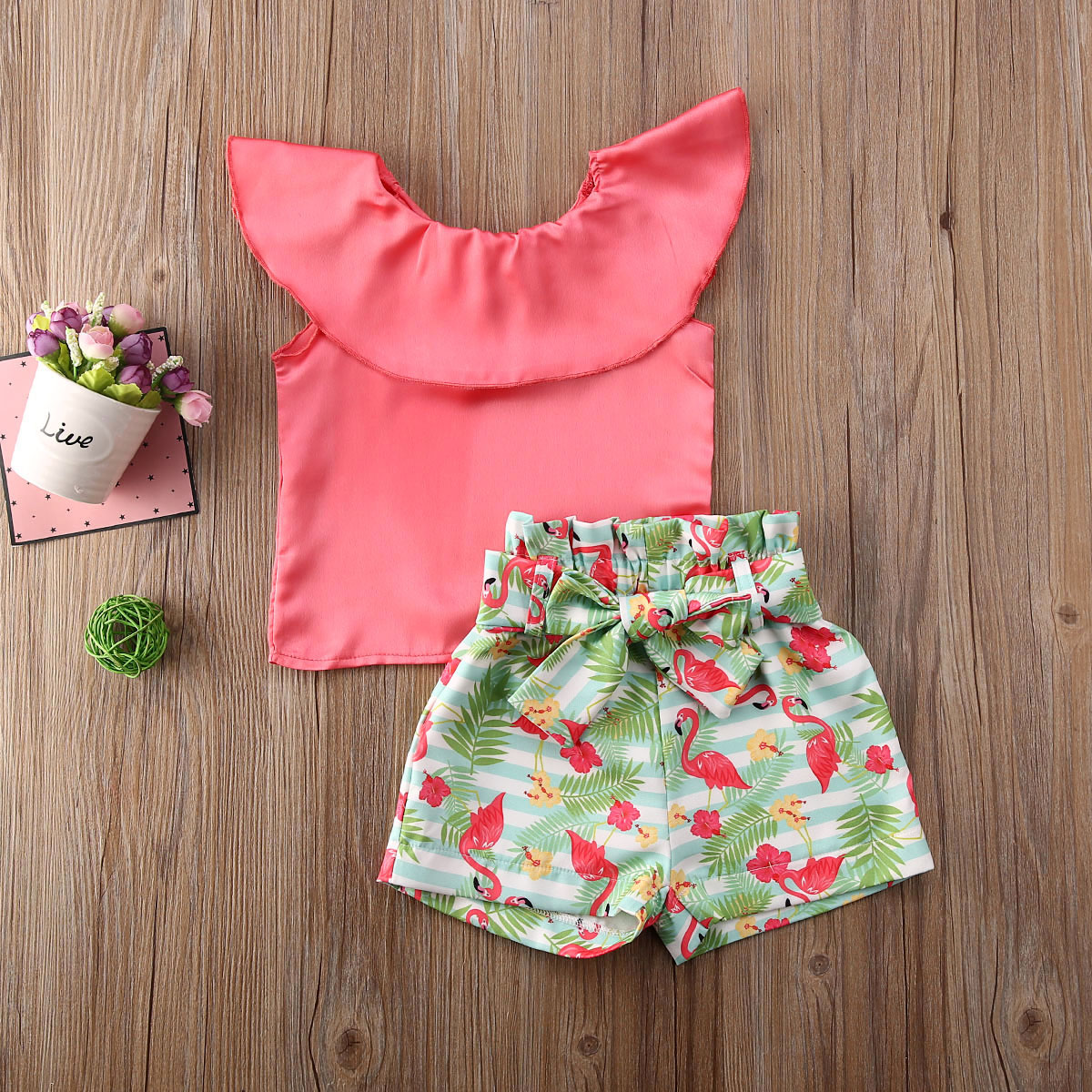 Pudcoco Toddler Baby Girl Clothes Solid Color Ruffle Sleeveless Tops Flamingo Print Short Pants 2Pcs Outfits Clothes 2-7Y