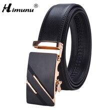 [HIMUNU] брендовые Дизайнерские мужские ремни высокого качества с автоматической пряжкой из натуральной воловьей кожи роскошные ремни для мужчин 110-130 см мужские ремни