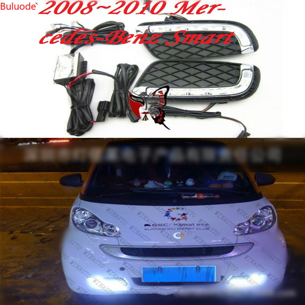Car Flashing 2Pcs DRL For Mercedes Benz Smart fortwo 2008 2009 2010 2011 Daytime Running Lights Fog head Lamp cover car styling