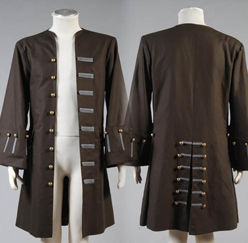 New Arrival Jack Sparrow Costume Pirates Of The Caribbean Captain Jack Sparrow Cosplay Costume For Adult Men Only Jacket Coat