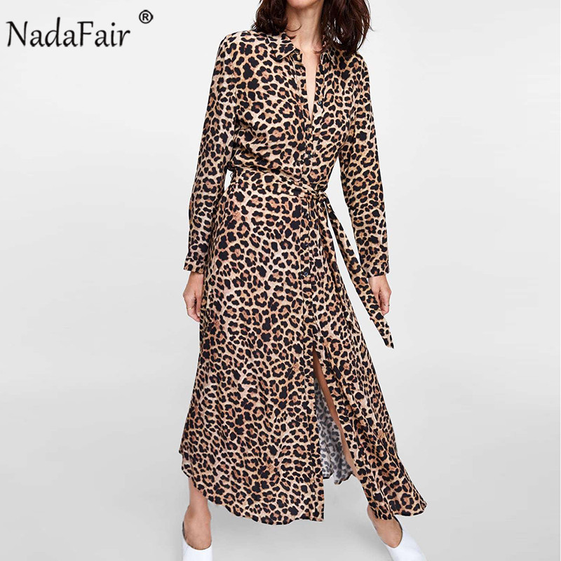 Nadafair Tunic Elegant Leopard Dress Women Long Sleeve Belt Lace Up Chiffon Shirt Vintage Animal Print Party Midi Dress