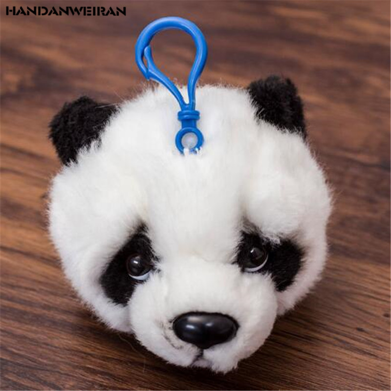 NEW Hot Sale 1PCS 8CM High Plush Stuffed Panda Head Plush Pendant Key Chain Children's Plush Toy Valentine's Day Gift Low Price