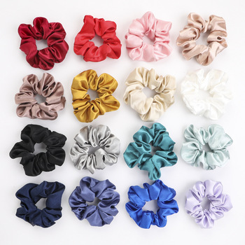 1PC Satin Silk Solid Scrunchies Elastic Hair Bands Women Girls Hair Accessories High Quality Ponytail Holder Hair Ties Rope 20 pcs lot solid velvet hair scrunchies elastic hair ties bands women girls headwear ponytail holder korean hair accessories