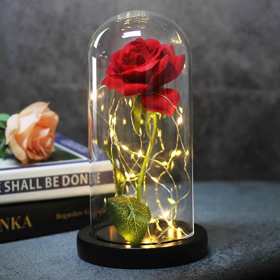 Dropshipping Beauty And The Beast Mawar Merah Di Kaca Dome dengan Lampu LED Dasar Kayu untuk Hari Valentine hadiah Natal Presen