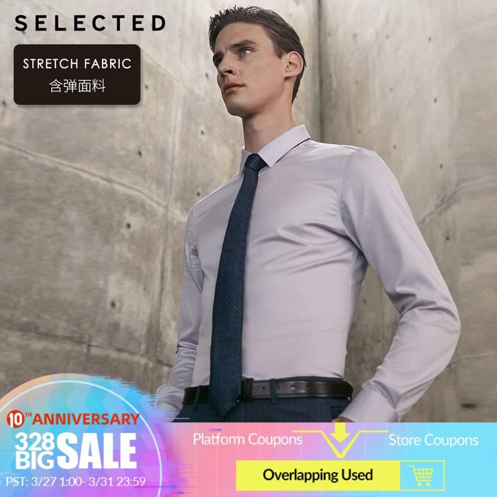 SELECTED Men's Stretch Pure Color Slim Fit Long-sleeved Shirt T|419305547
