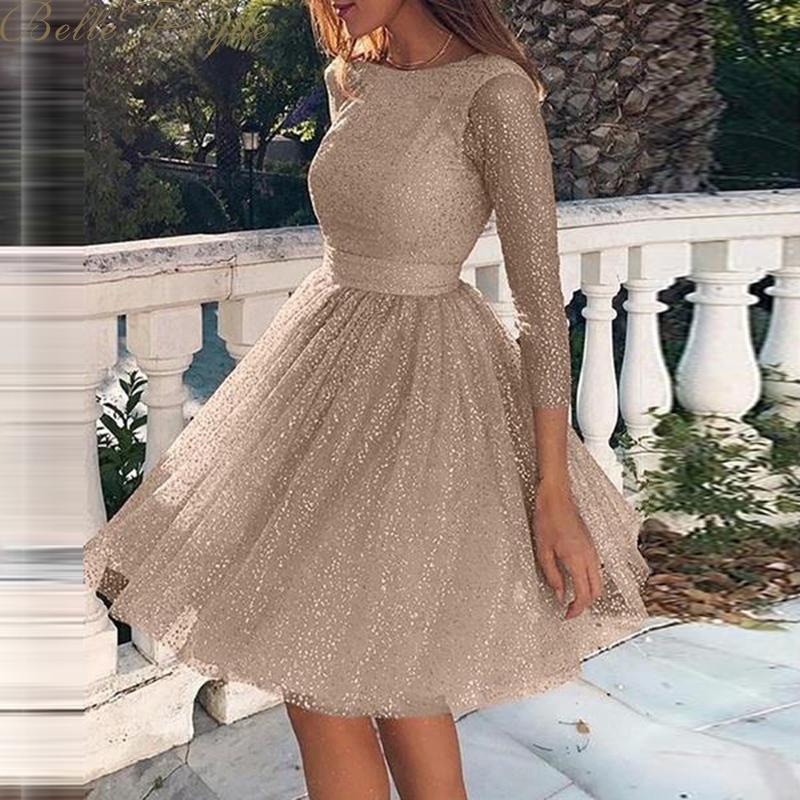 Belle Poque O Neck Long Sleeve Sequined Party Dresses Women Sexy Lace Streetwear Midi Dress Female 2019 Spring Dress Vestido