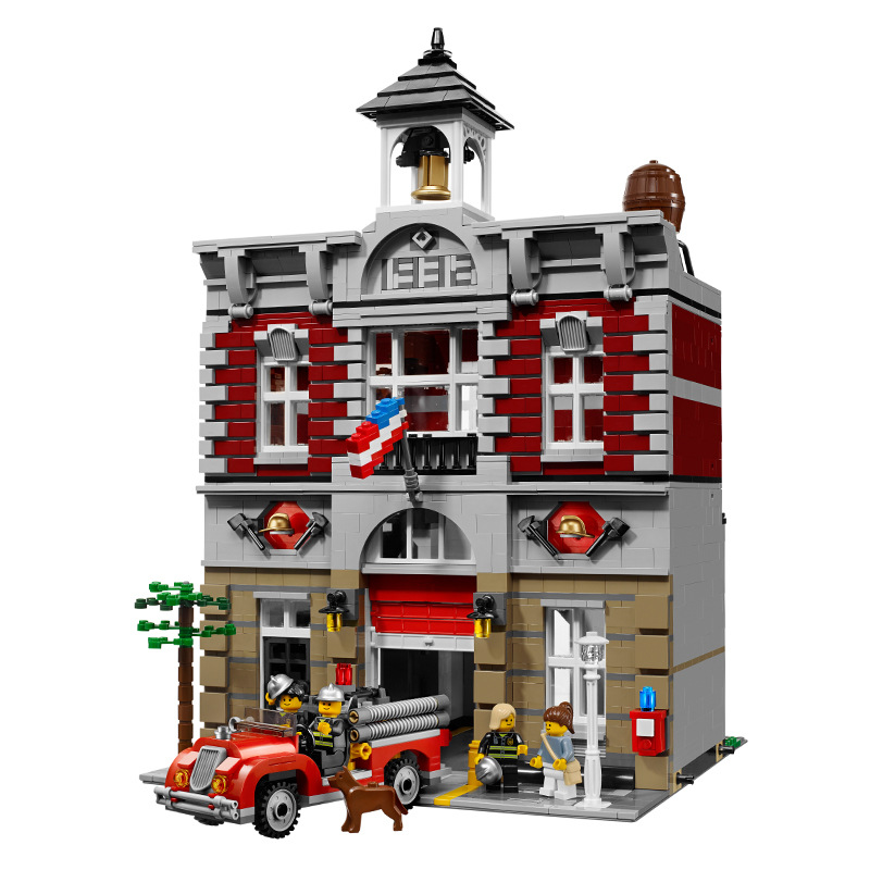 New 15004 2313Pcs City Street View Series Fire Brigade Model Building Brick Compatible <font><b>10197</b></font> Children's Toys Gifts image