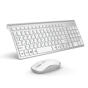 Image 1 - JOYACCESS الفضة لوحة مفاتيح روسية الماوس مجموعة لاسلكية مريحة Mause الأعمال رقيقة لوحة مفاتيح وماوس الماوس الصامت للمكتب