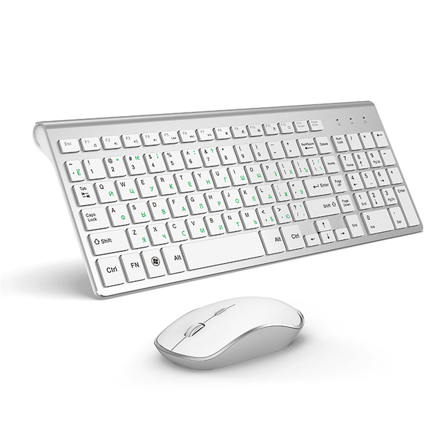 JOYACCESS الفضة لوحة مفاتيح روسية الماوس مجموعة لاسلكية مريحة Mause الأعمال رقيقة لوحة مفاتيح وماوس الماوس الصامت للمكتب