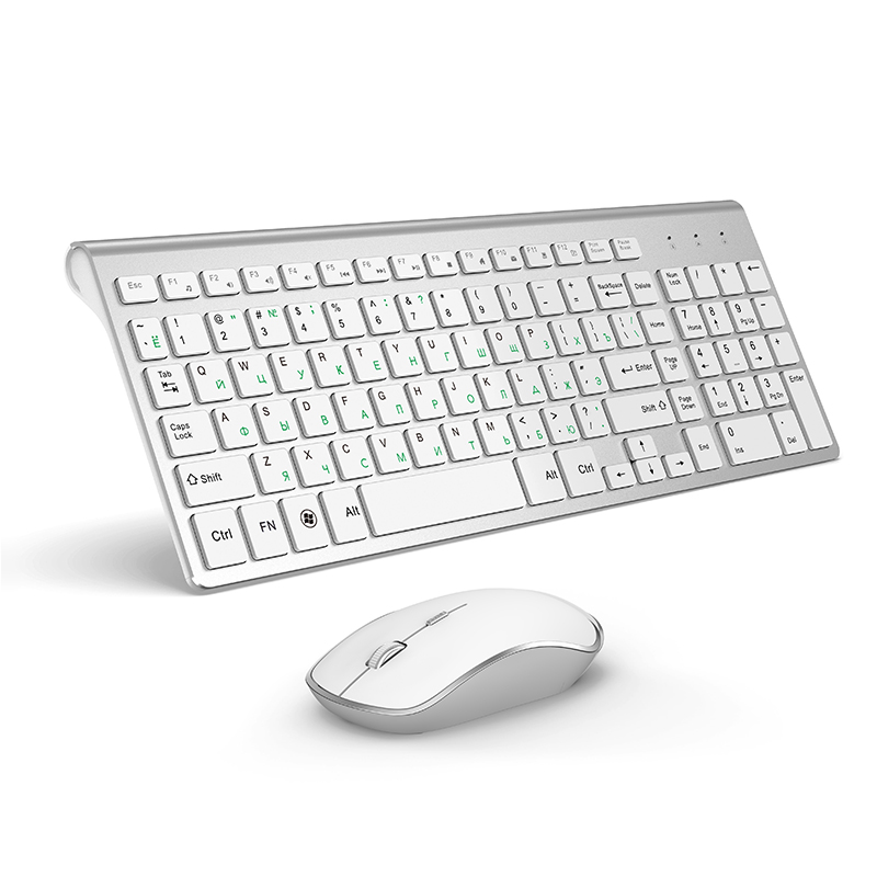 JOYACCESS Silver Russian Keyboard Mouse Set Wireless Ergonomic Mause Business Thin Keyboard Mouse Combo Silent Mouse For Office