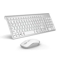 JOYACCESS Silver Russian Keyboard Mouse Set Wireless Ergonomic Mause Business Thin Keyboard