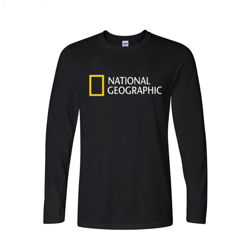 National Geographic Logo Trending Design T Shirt Mens Tops Casual Long Sleeve Cotton  Funny T-shirts