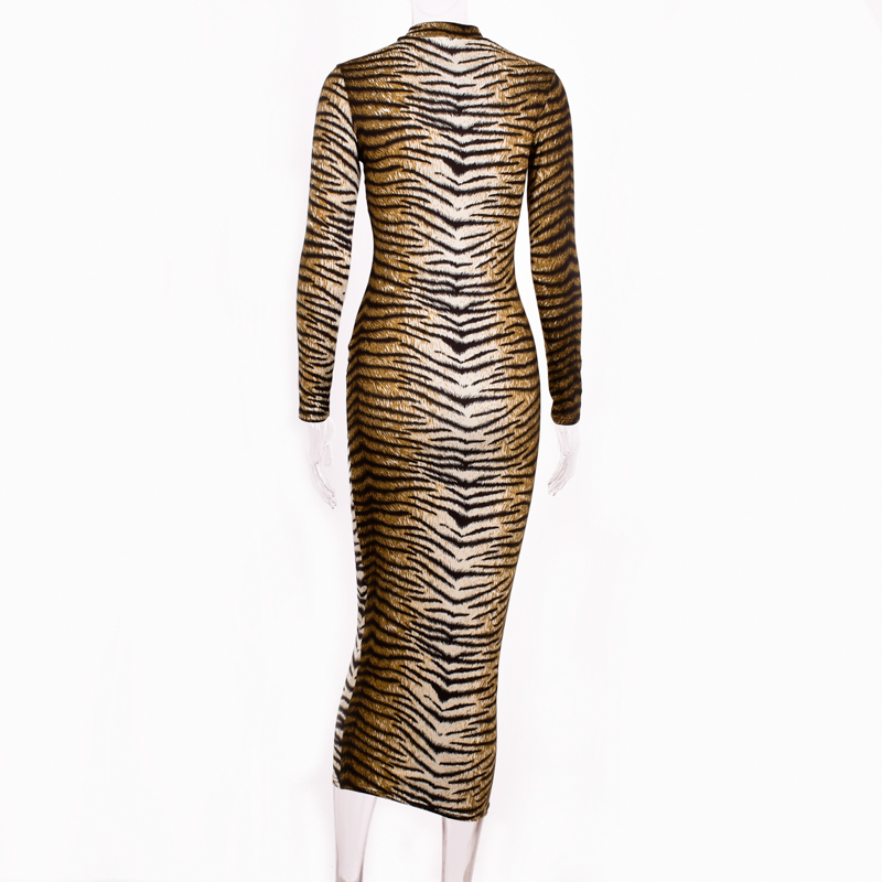Hugcitar leopard print long sleeve slim bodycon sexy dress 19 autumn winter women streetwear party festival dresses outfits 29