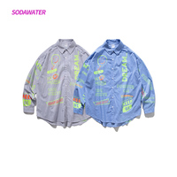 SODAWATER Girl Fancy Print Shirts Japan Style Long Sleeve Shirt Blouse Women Autumn Casual Striped Plus Size Tops Clothes 92128W