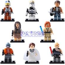 8pcs The Wars Tooper Cunner Anakin Skywalker Mon Mothma Princess Leia Obi-Wan Kenobi Building Blocks Children Toys X0144