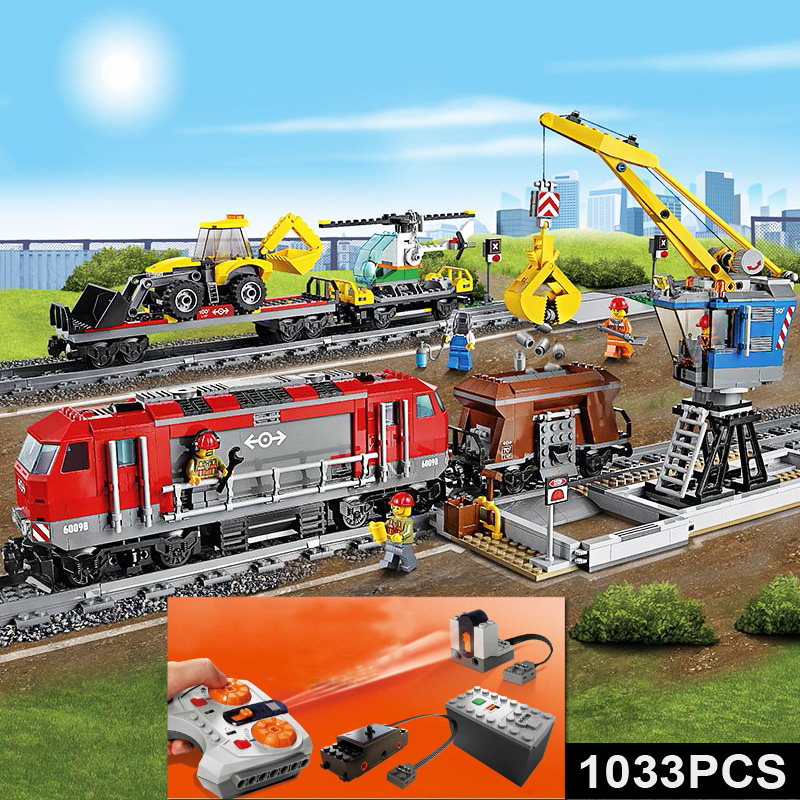 City With Motor Building Blocks Kit Compatible 60098 82009 Heavy haul Rail Train RC remote control Vehicle KID Toys 1