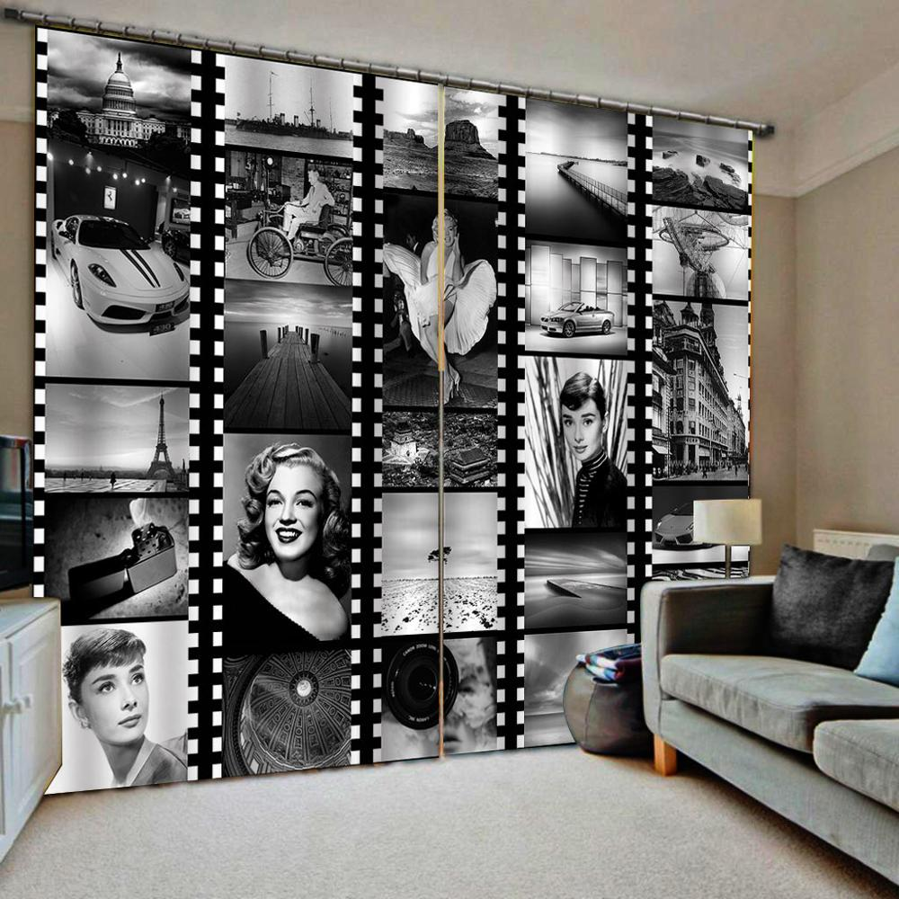 Luxury Blackout 3D Window Curtain For Living Room Bedroom romantic curtains black and white curtain