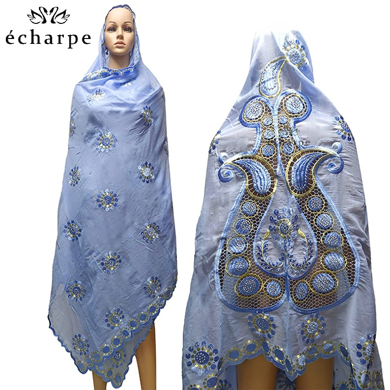 High Quality Cotton Scarf African Muslim Women Scarf Embroidery Design On The Back Fashionable New Scarf For Shawls EC044