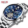 HAIQIN автоматические мужские часы лучший бренд класса люкс Tourbillon механические наручные часы самоветер водонепроницаемые Авто Дата Montre Homme