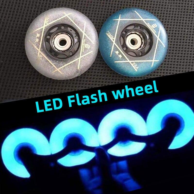 【72mm 76mm 80mm  LED】 Super Bright 88A Roller Wheels Flash Inline Skates Shoes For SEBA High HV HL KSJ For Powerslide Patines