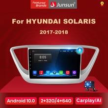 Junsun – autoradio V1, Android 10, 2 go/32 go, Navigation GPS, 4G, lecteur audio multimédia, sans 2 din, pour voiture Hyundai Solaris 2 Verna 2017 2018
