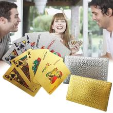 24K Gold Playing Cards Poker Game Deck Foil Set Plastic Magic Card Waterproof