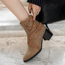 women ankle boots round toe high heels pumps autumn warm shoes woman chaussure zapatos mujer wxz201 стоимость