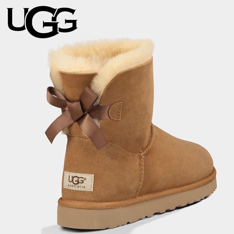 UGG сапоги 5062 оригинальные женские классические мини-сапоги с бантом 1 лента сапоги Зимняя обувь зимние сапоги женские теплые меховые сапоги