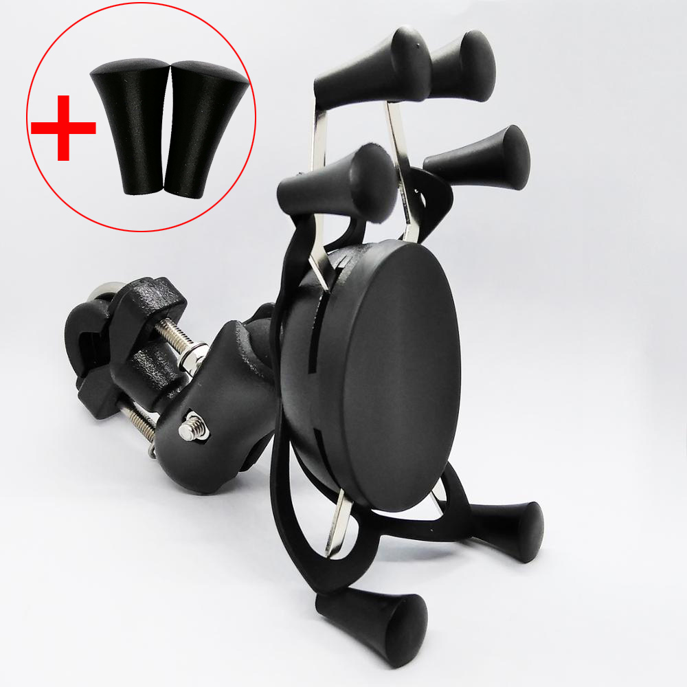 Motorcycle Handle Bar Rail Mount Bar Mount X Grip Phone Holder Stand With 65mm Double Socket Arm For 4-6 Inch Cell Phone And GPS