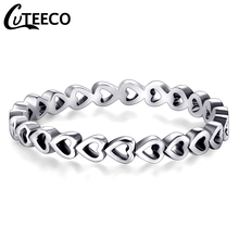 Cuteeco 2019 Hight Quality Hollow Forever Love Heart Pan Finger Ring Original Jewelry Gift For Women Accessories cuteeco hight quality silver color 22 styles stackable pan finger ring for women original ring engagement jewelry gifts