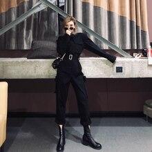 ストリートサッシロンパース女性長袖ジャンプスーツ ファム秋のレディースカジュアルポケット貨物オーバーオール Combinaison
