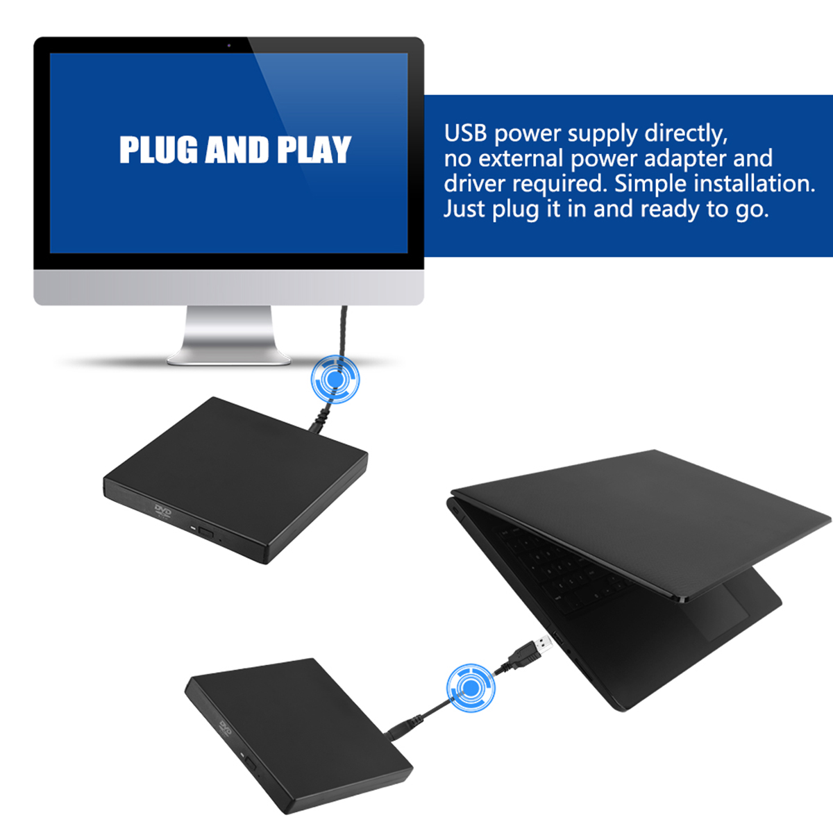 SOONHUA USB 2.0 Optical Drive Case Kit External Mobile Enclosure With USB Charging Cable And Circuit Board For Laptop 5