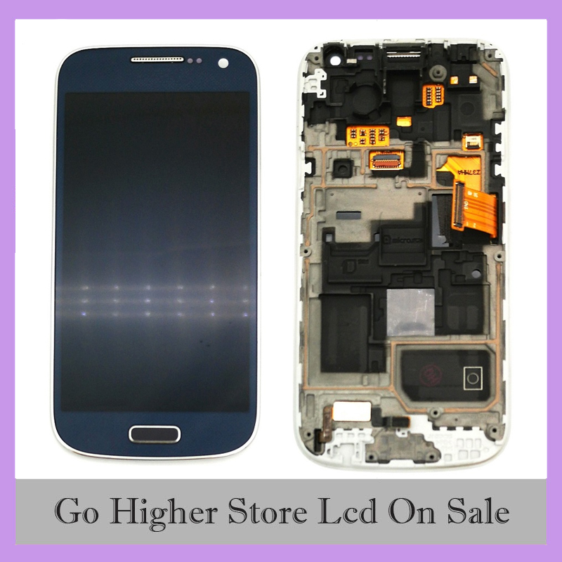 Blue For Samsung Galaxy S4 mini I9190 I9192 I9195 LCD Display Touch Screen Digitizer Assembly with Frame image
