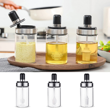 Glass Airtight Jar Spice Containers Bottle Condiment Salt Pepper Honey Seasoning Storage Jars Pot with Spoon Lid