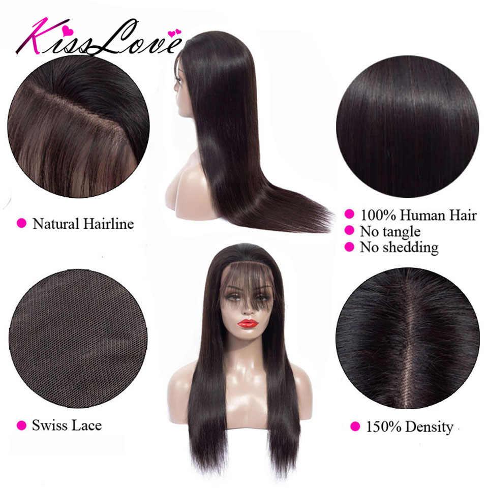 Peluca Frontal de encaje recto 13x6 pelucas de cabello humano Pre desplumado peluca Frontal de encaje brasileño con pelo de bebé cabello Remy beso amor