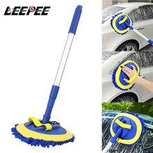 LEEPEE autolavaggio spazzola strumenti per la pulizia Mop telescopico manico lungo Auto ciniglia scopa accessori Auto
