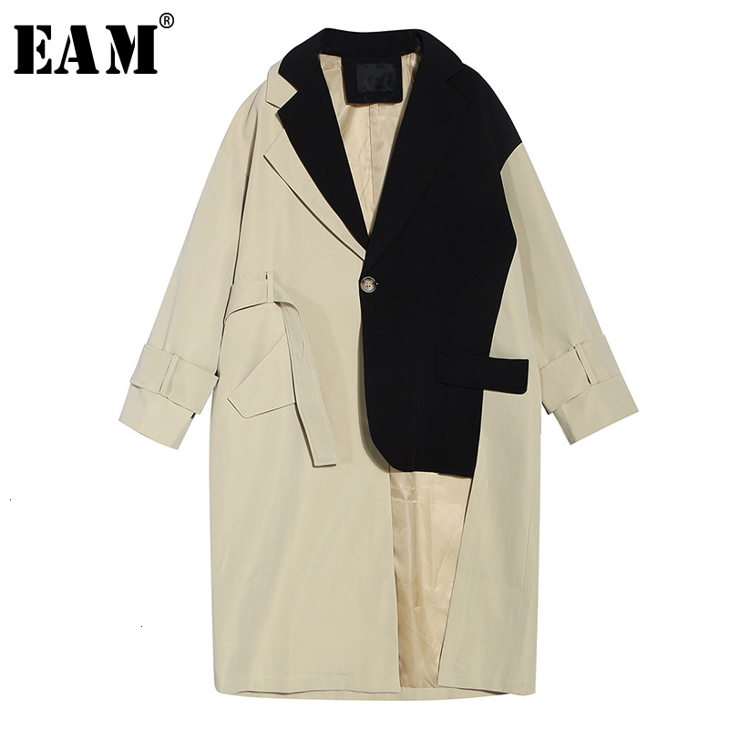 [EAM] Women Khaki Split Joint Big Size Trench New Lapel Long Sleeve Loose Fit Windbreaker Fashion Tide Spring Autumn 2020 1M004