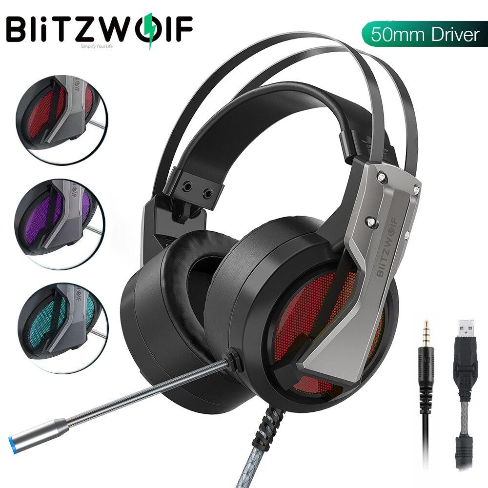 Blitzwolf BW GH1 jogos fone de ouvido com microfone USB 3.5mm 7.1 surround som isolamento ruído jogo com fio fones de ouvido gamer para pc para ps4|Fones de ouvido| - AliExpress