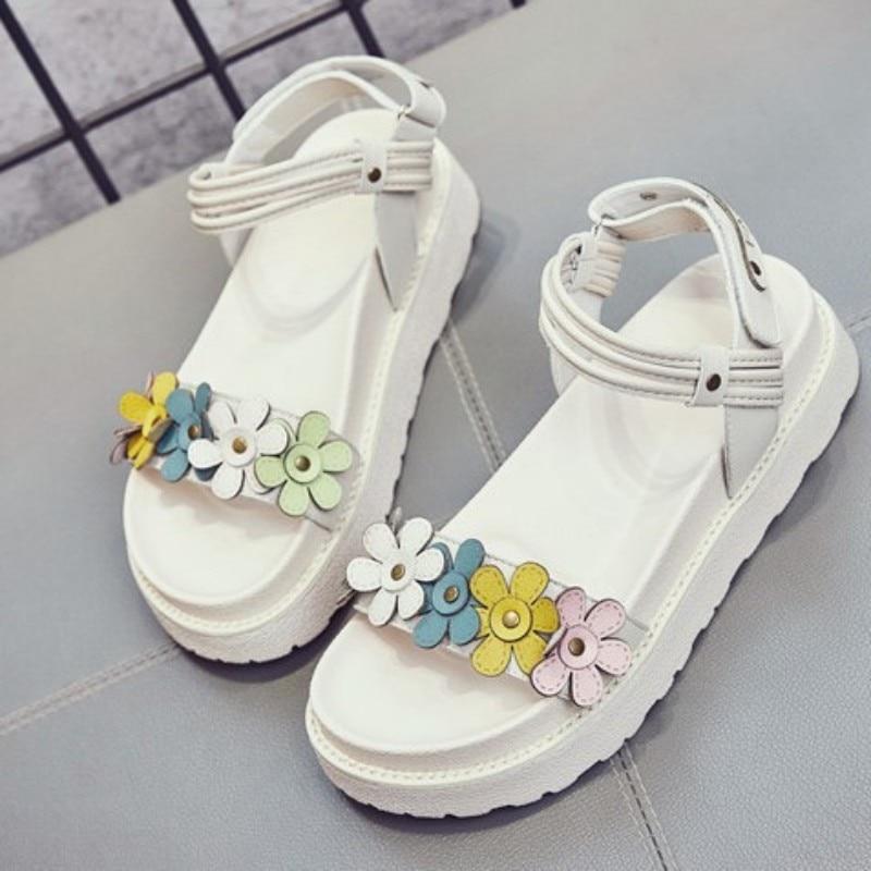 doce flores cunhas sandália verão aberto dedo