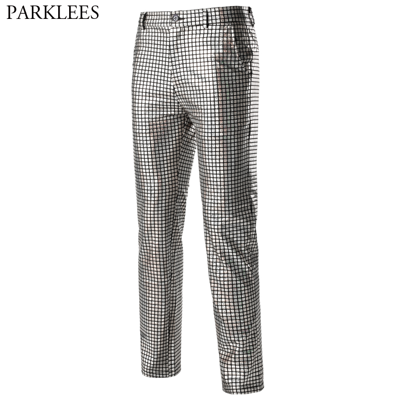 Silver Sequin Trousers Men Hipster Shiny Plaid Metallic 70s Disco Mens Pants Nightclub Stage Dance Party Cosplay Costume Pants