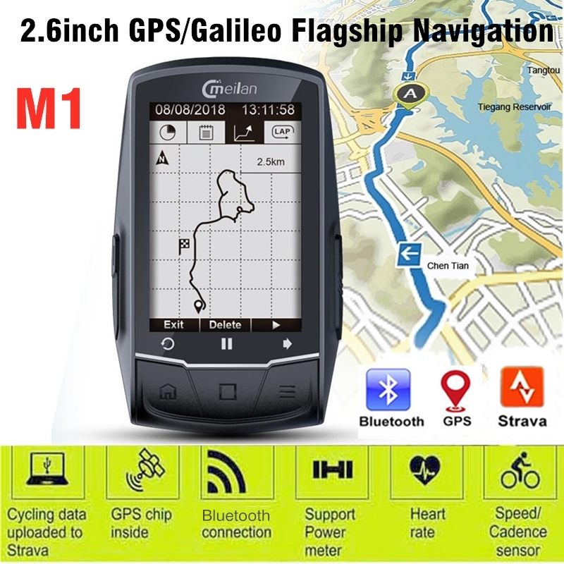 Meilan <font><b>GPS</b></font> <font><b>Bike</b></font> <font><b>Computer</b></font> Wireless Speedometer Bluetooth ANT Bicycle Odometer Speed Cadence Sensor Heart Rate Monitor Optional image