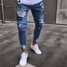 Cartoon Men Stretchy Skinny Biker Slim Fit Denim Broken Hole Multi-pocket zipper pencil Pants men casual jeans fashion Casua