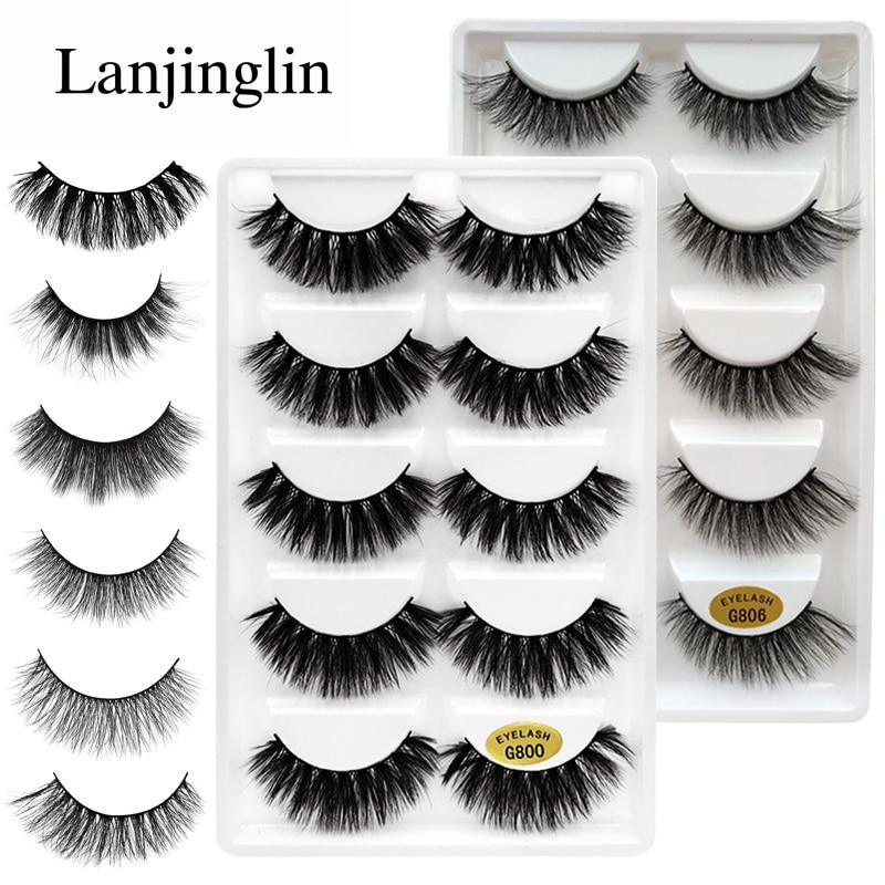 LANJINGLIN 5 Pairs False Eyelashes Natural 3D Mink Lashes Makeup Beauty Eyelash Long Mink Eyelashes Volume Fake Eye Lashes Cilio