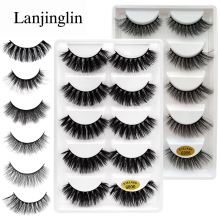 LANJINGLIN 5 pairs false eyelashes natural 3D mink lashes makeup beauty eyelash long volume fake eye cilio